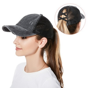 Pony tail hat with or without text