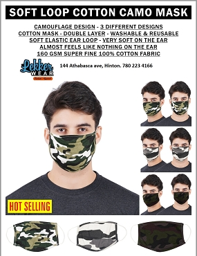 Three camo face masks