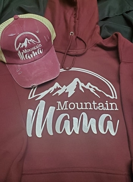 Mountain Mama hoodie and hat